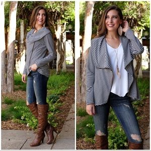 Black and White Striped ZIP Up Cardigan